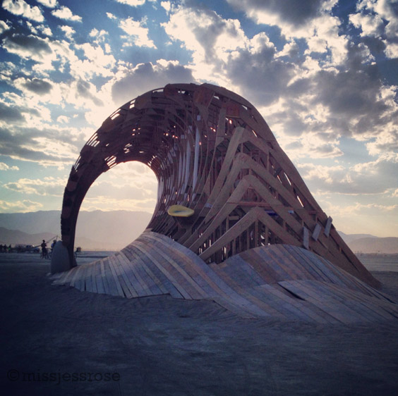 Giant wooden surf wave
