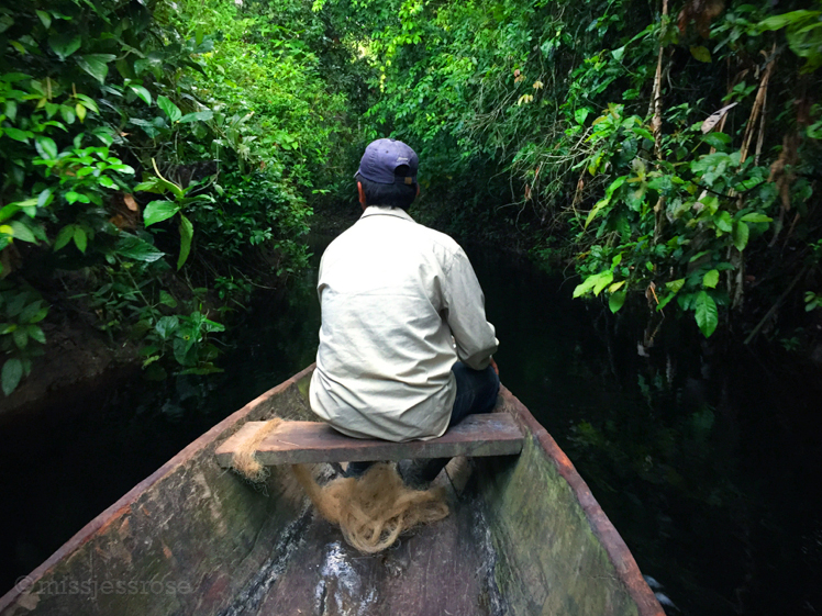 Heading deep into the jungle on a tributary off the Marañon River in the Northern Peruvian Amazon.
