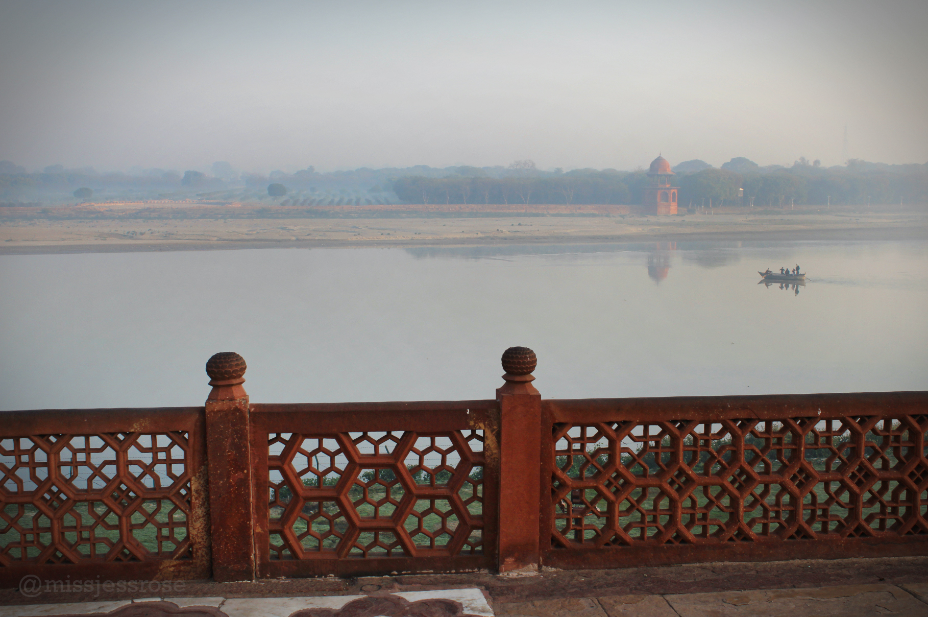 View of the polluted Yamuna river from the Taj Mahal