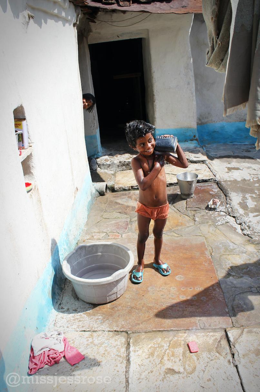Taking a bath.