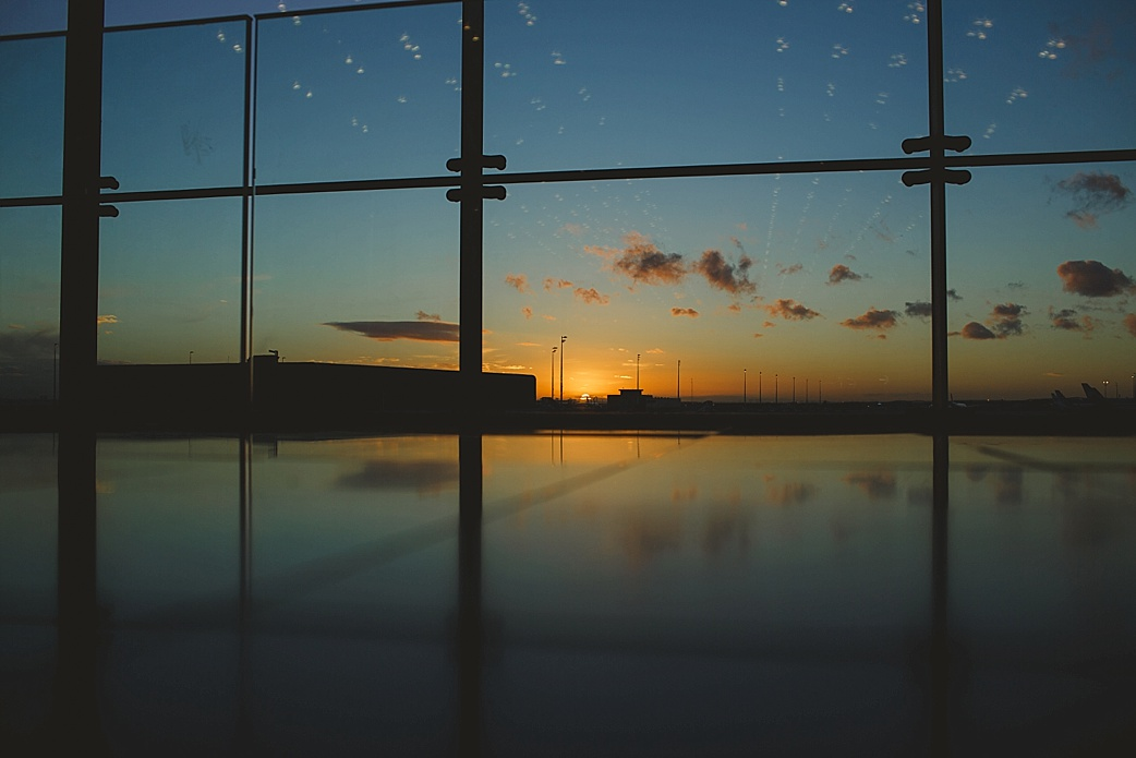 charles de gaulle airport sunset