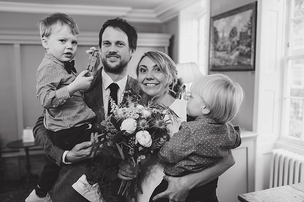 bride groom and family burgh house wedding