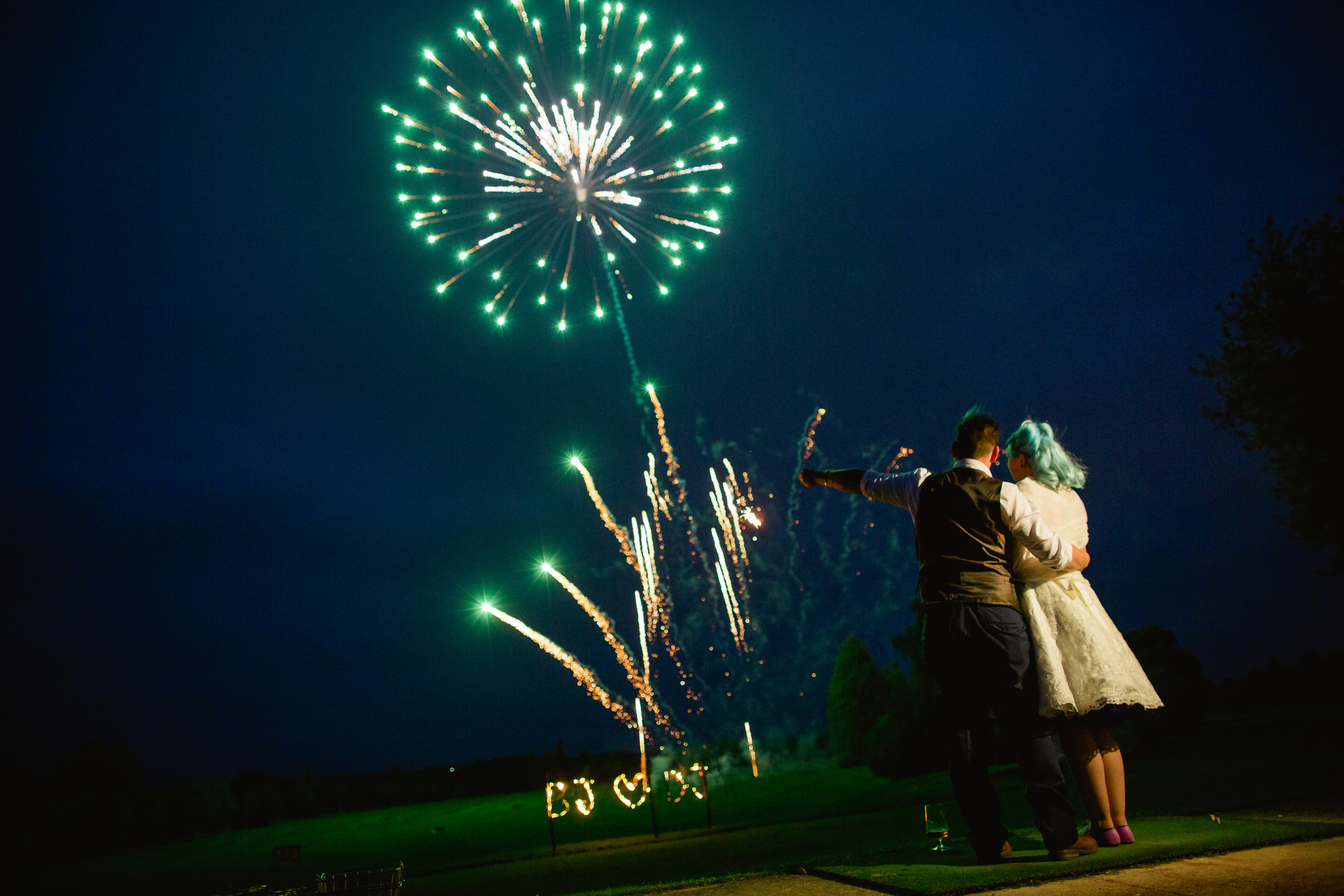Wedding fireworks - Bride and groom with fireworks - Birmimgham wedding