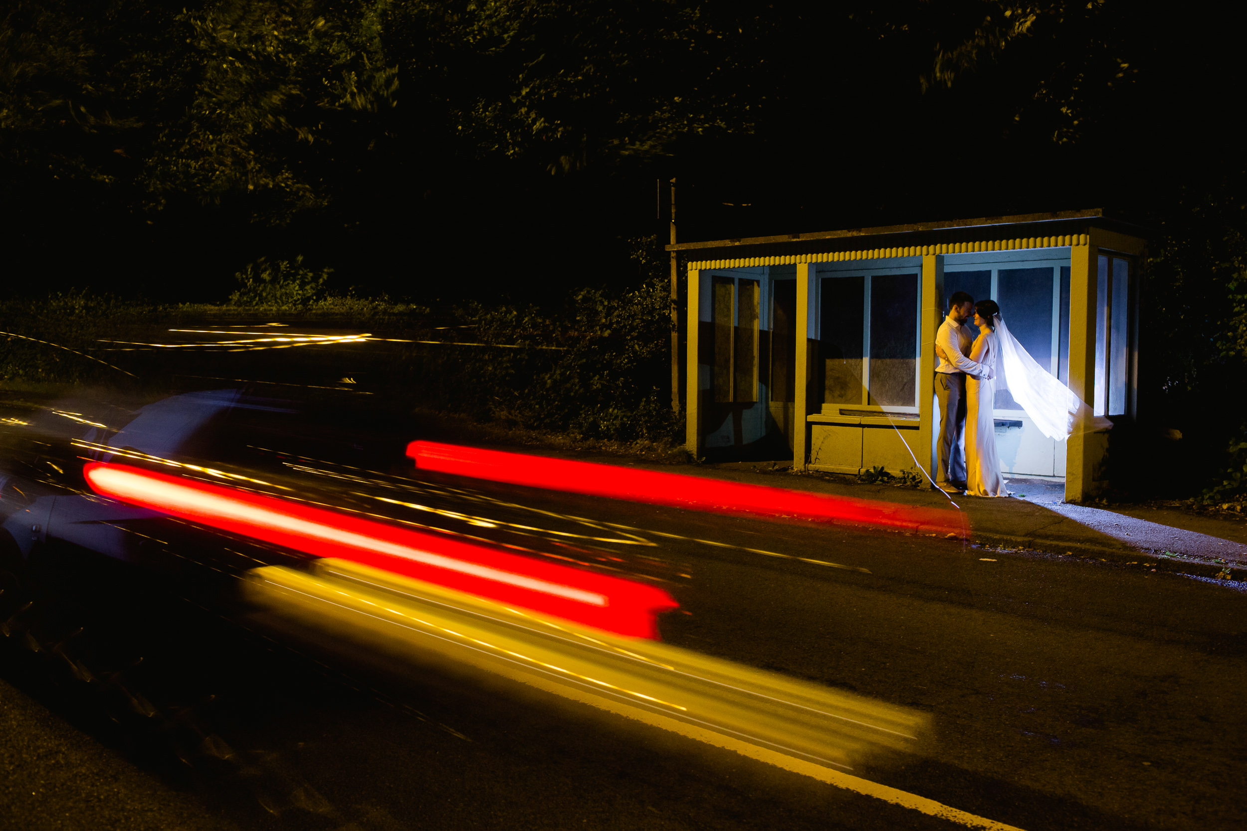 Lickey hills night time pictures - bride and groom in a bus top - Lickey hills wedding