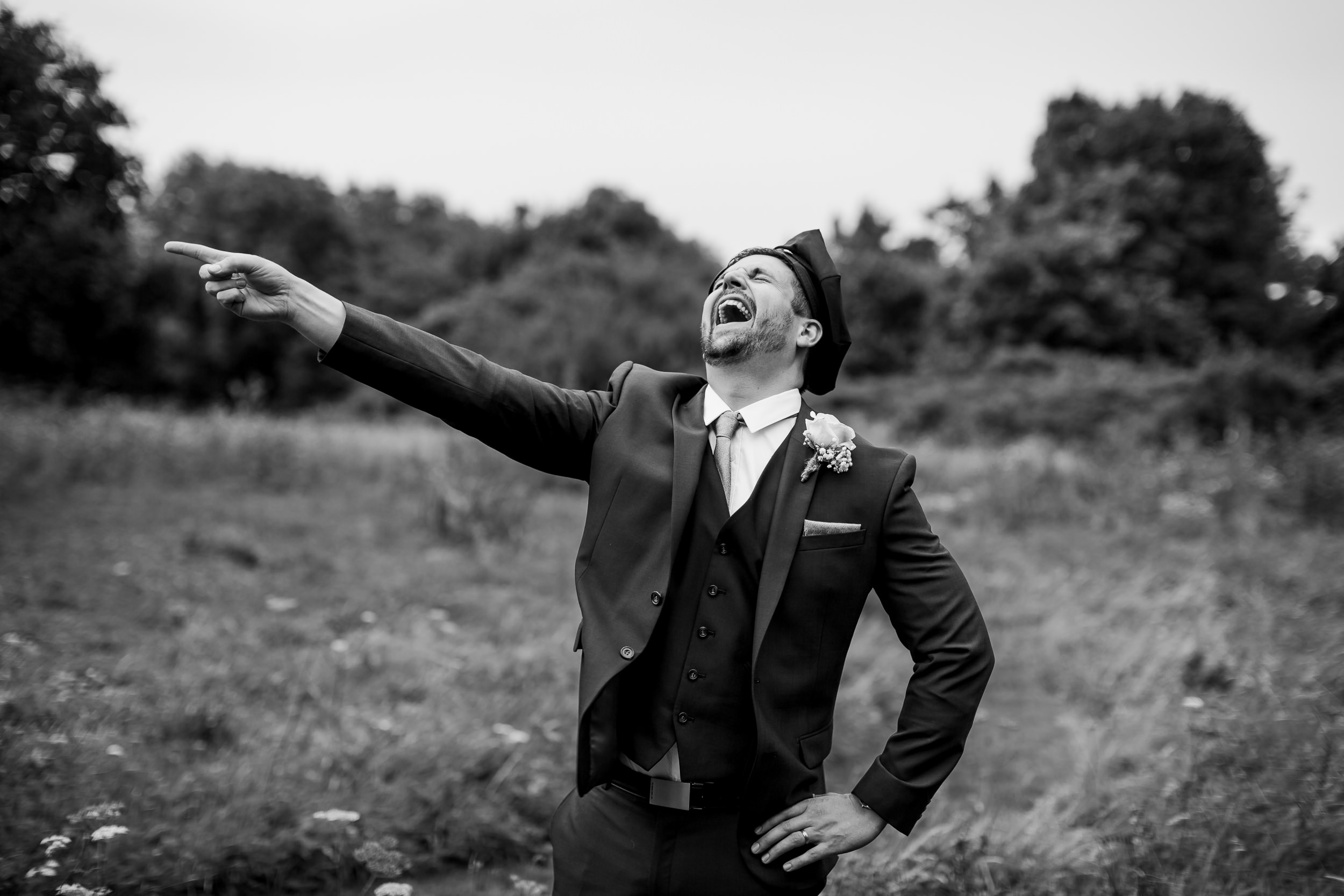 Laughing wedding guest - Weddings at King Arthurs Hotel Wales