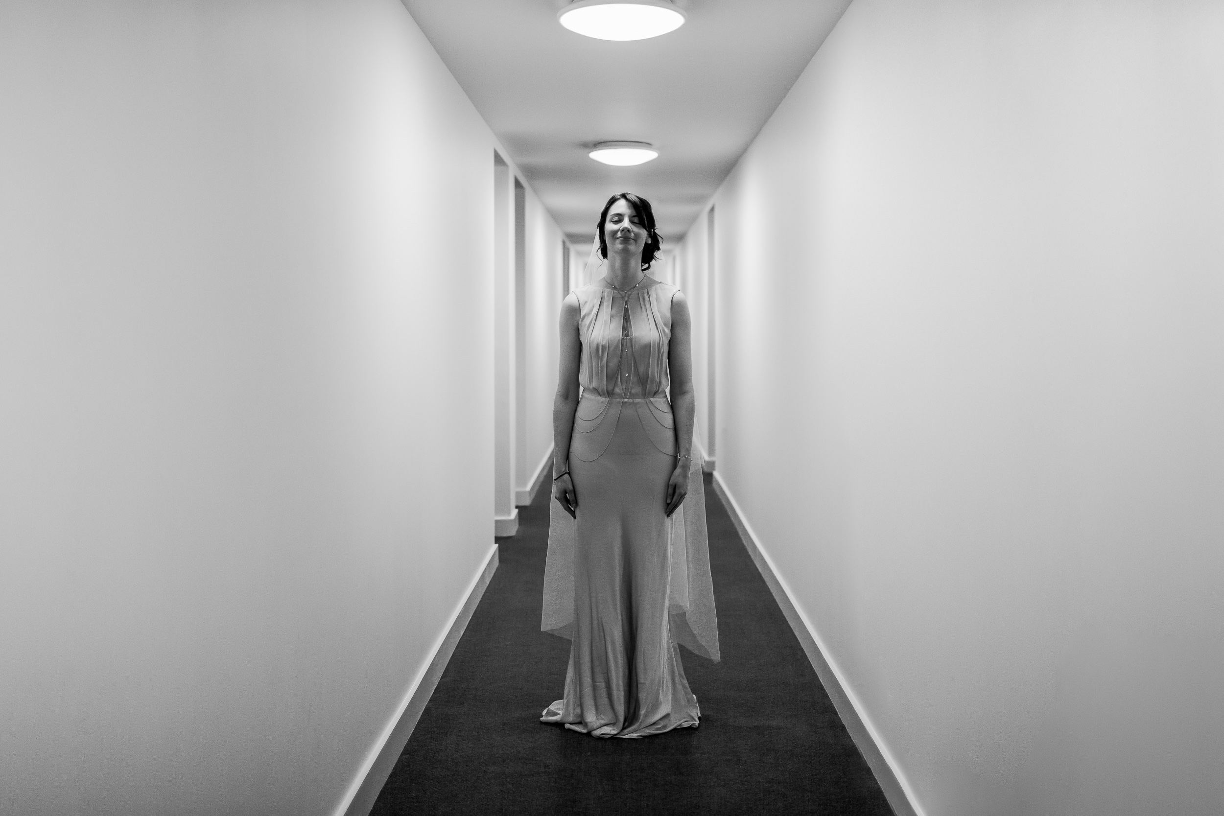 Bride in a corridor - Alternative bridal portrait - Birmingham wedding