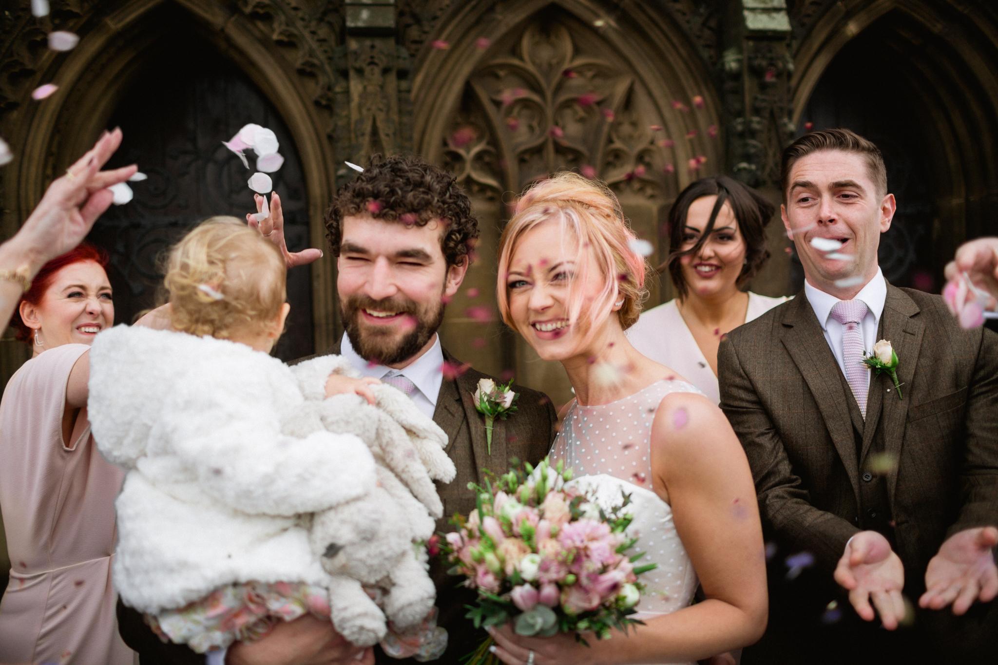 confeti on a wedding day