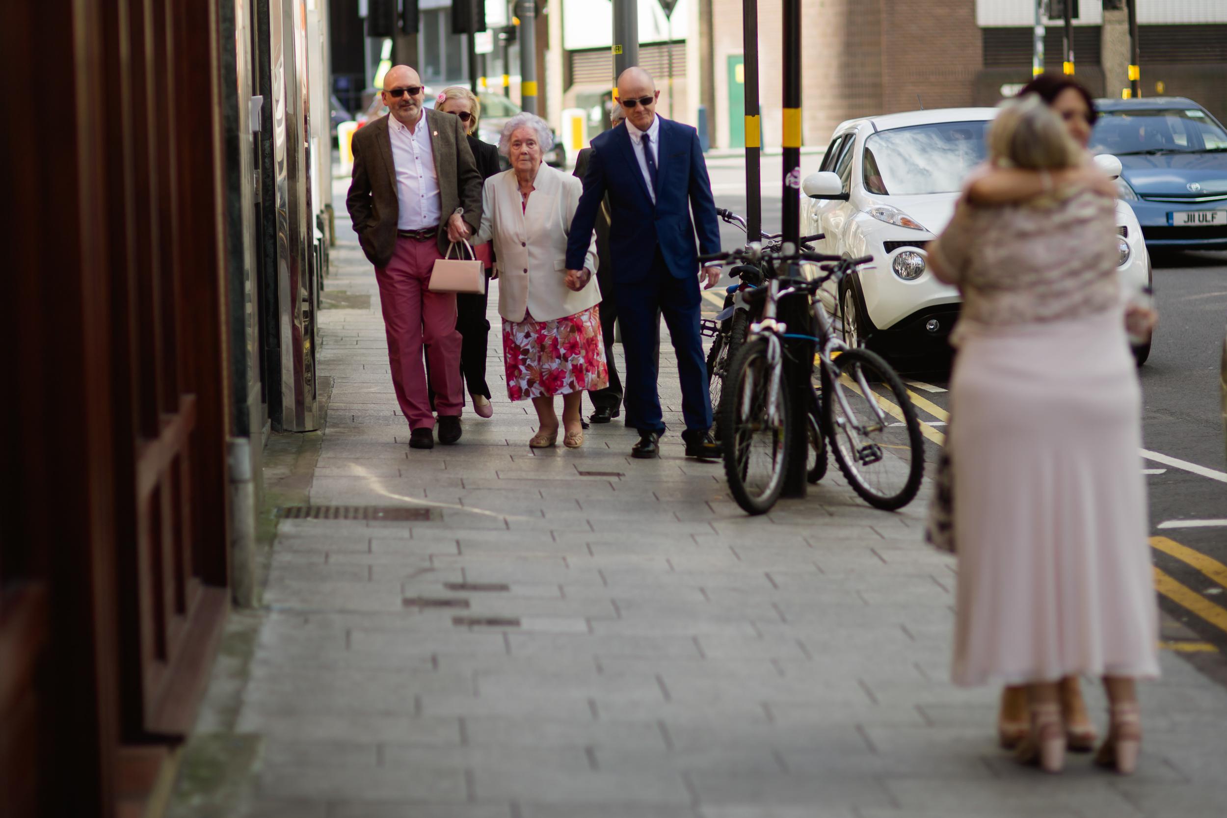 Grandma arrives at the wedding