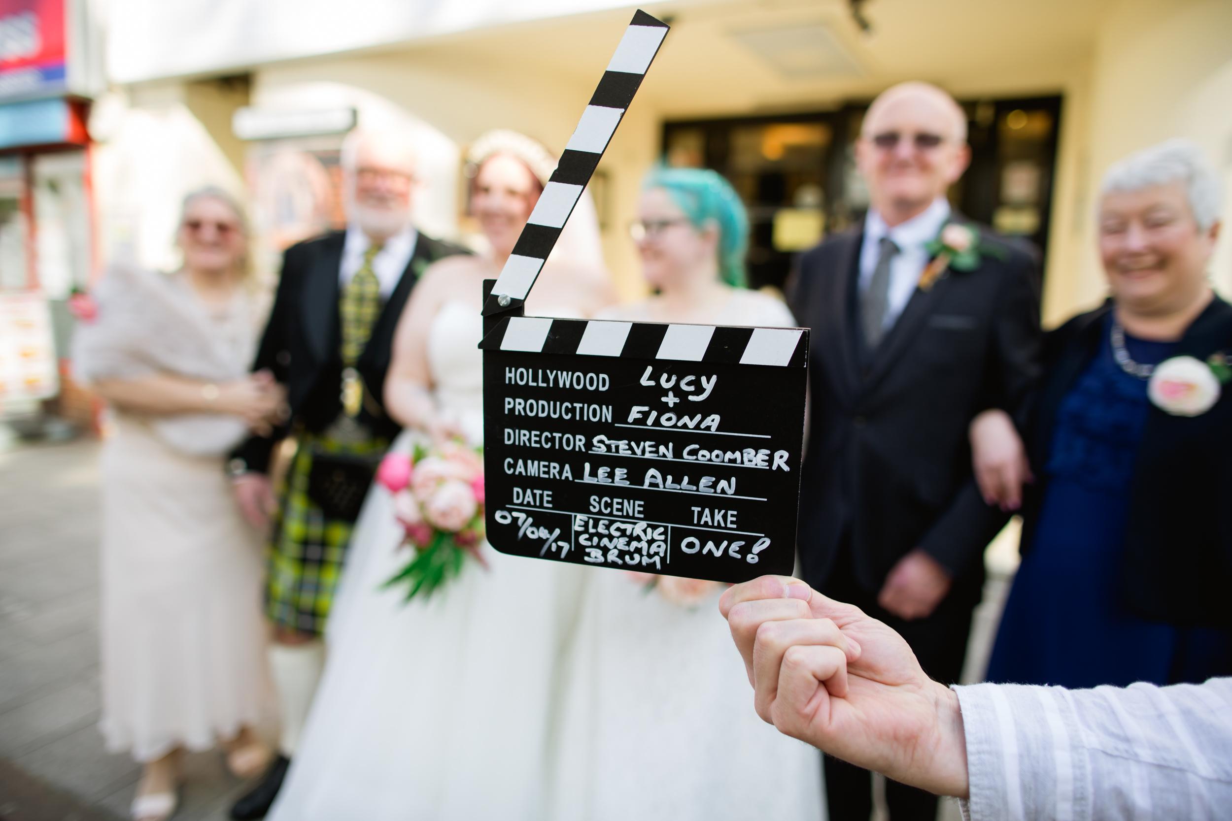 Wedding clapper board at the Electric Cinema
