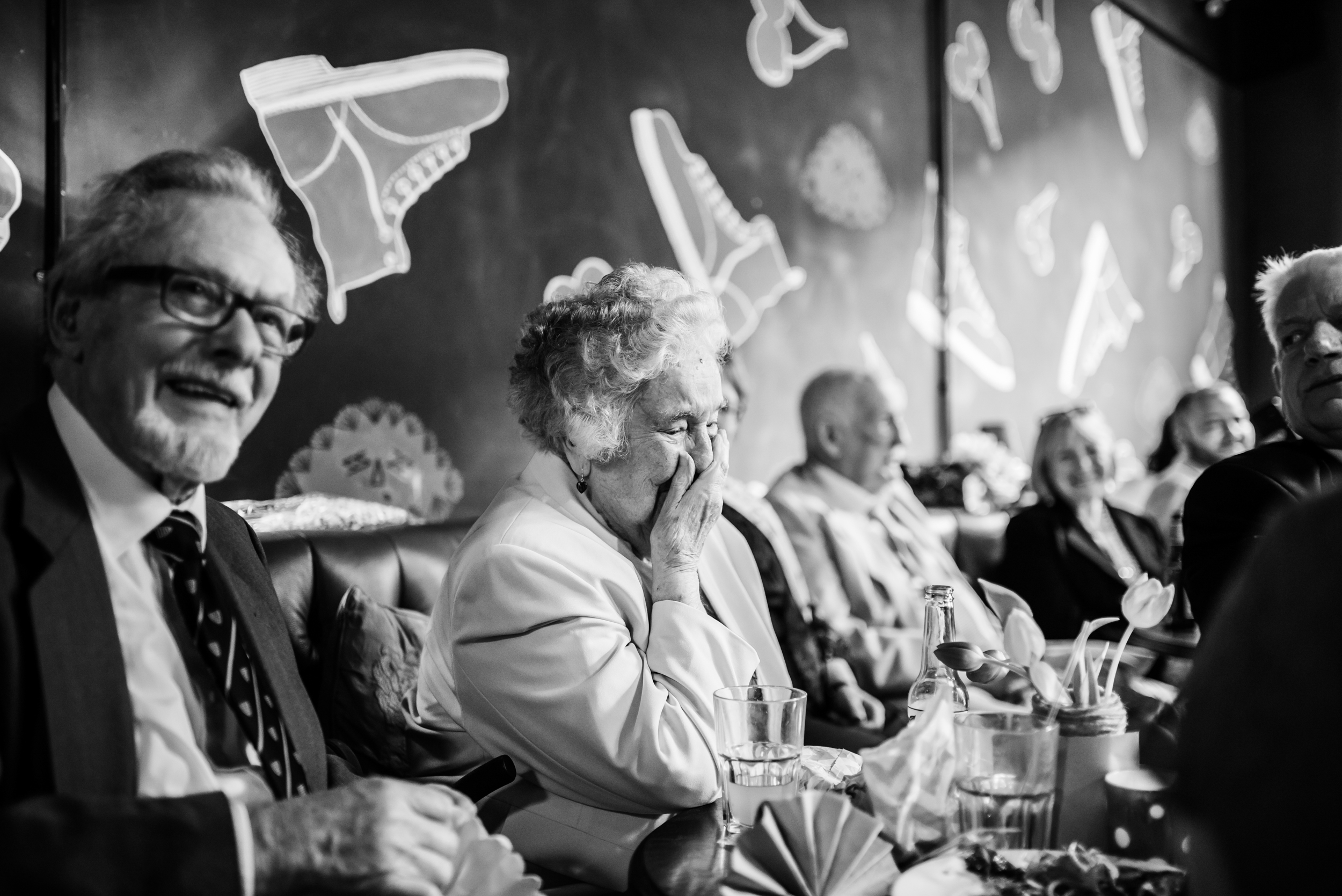 Grandma laughs at the wedding