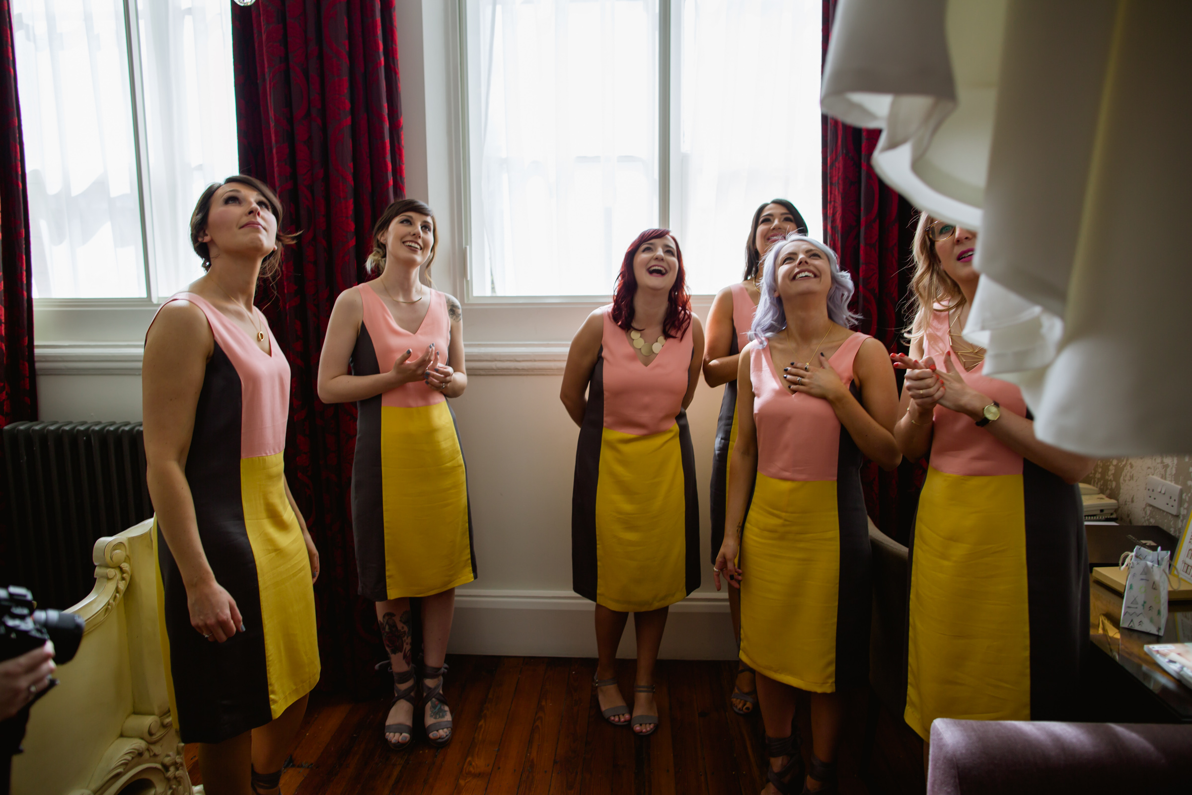 excited bridesmaids at great john street hotel manchester