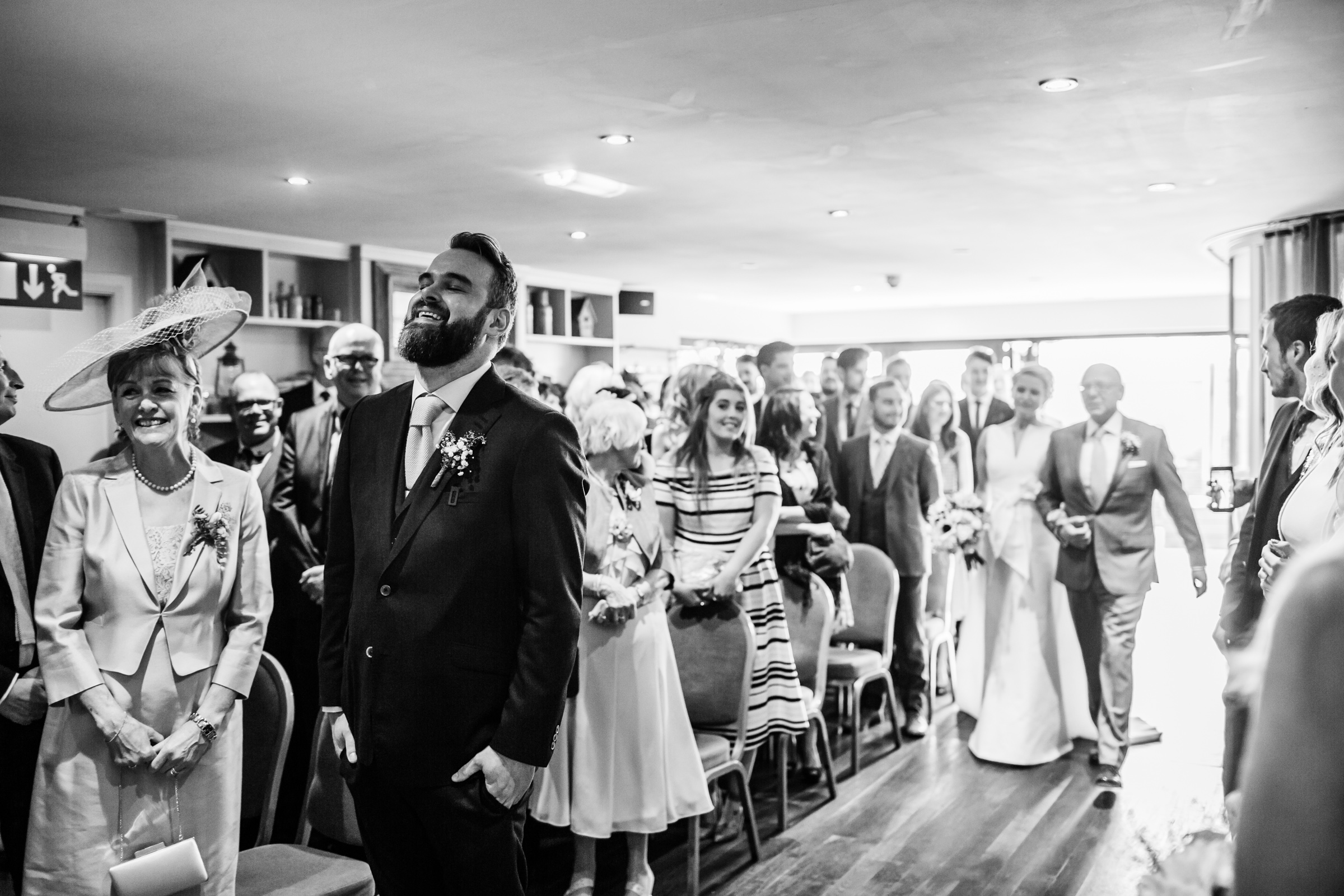 a nervous groom waits for his bride at great john street hotel manchester