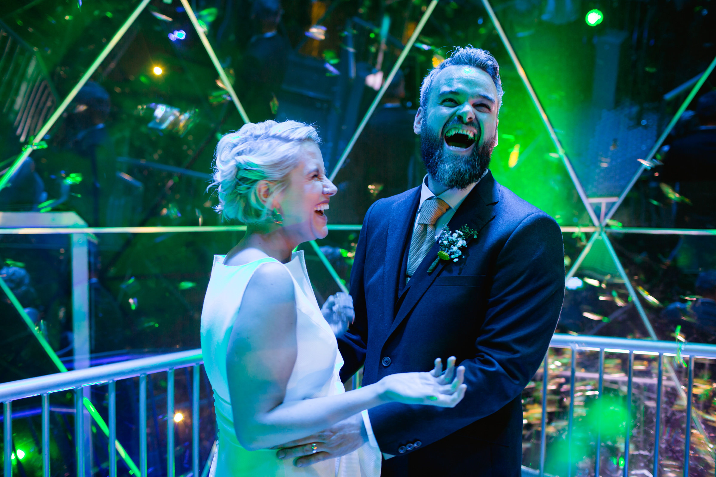 a bride and groom in the crystal dome at the crytsal maze in manchester