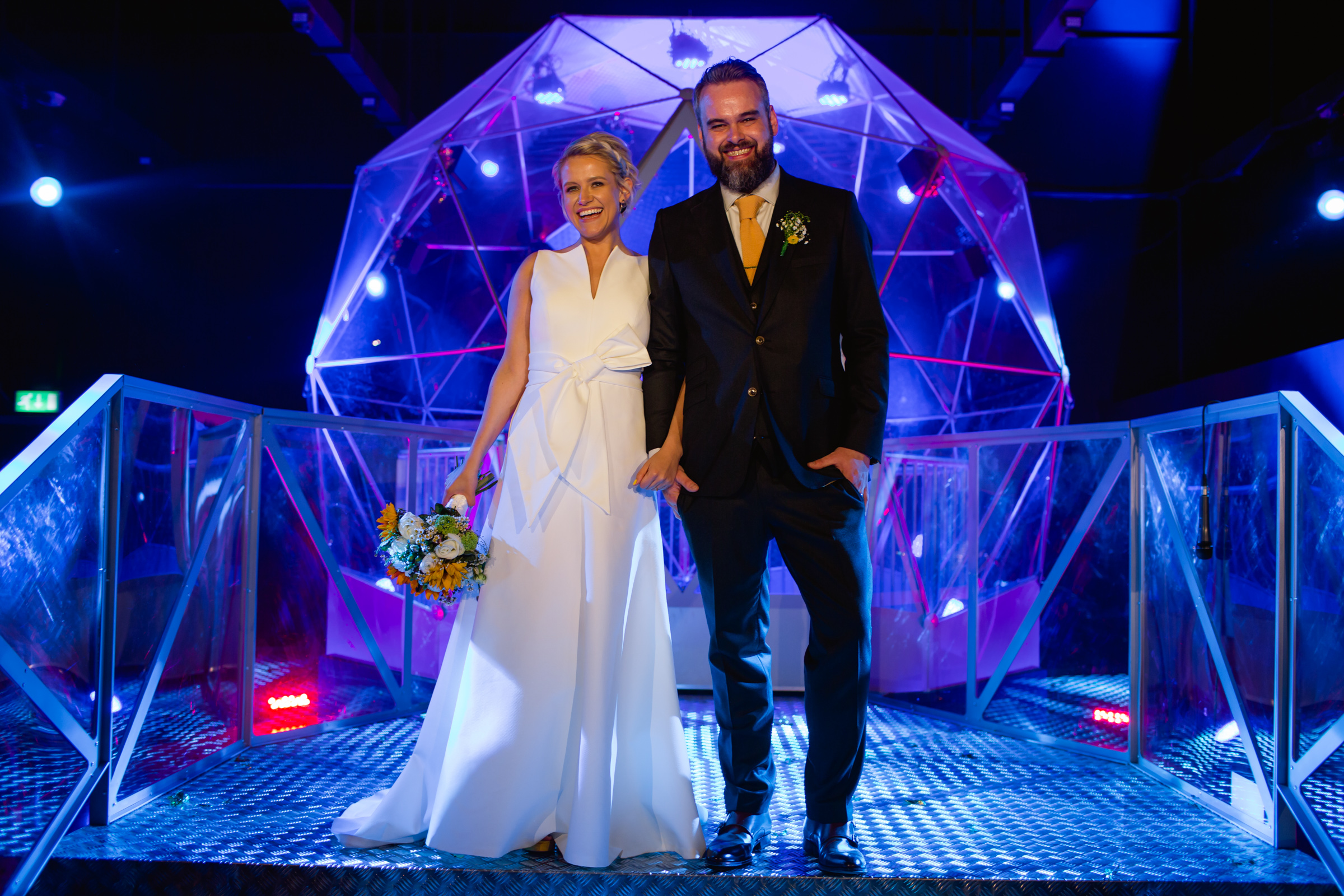 a bride and groom in the crystal maze manchester