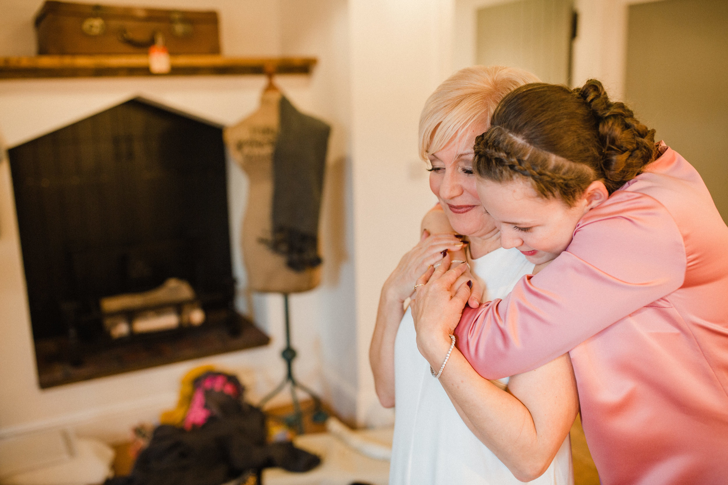 a daughter hugs her mum at West Mill Derby