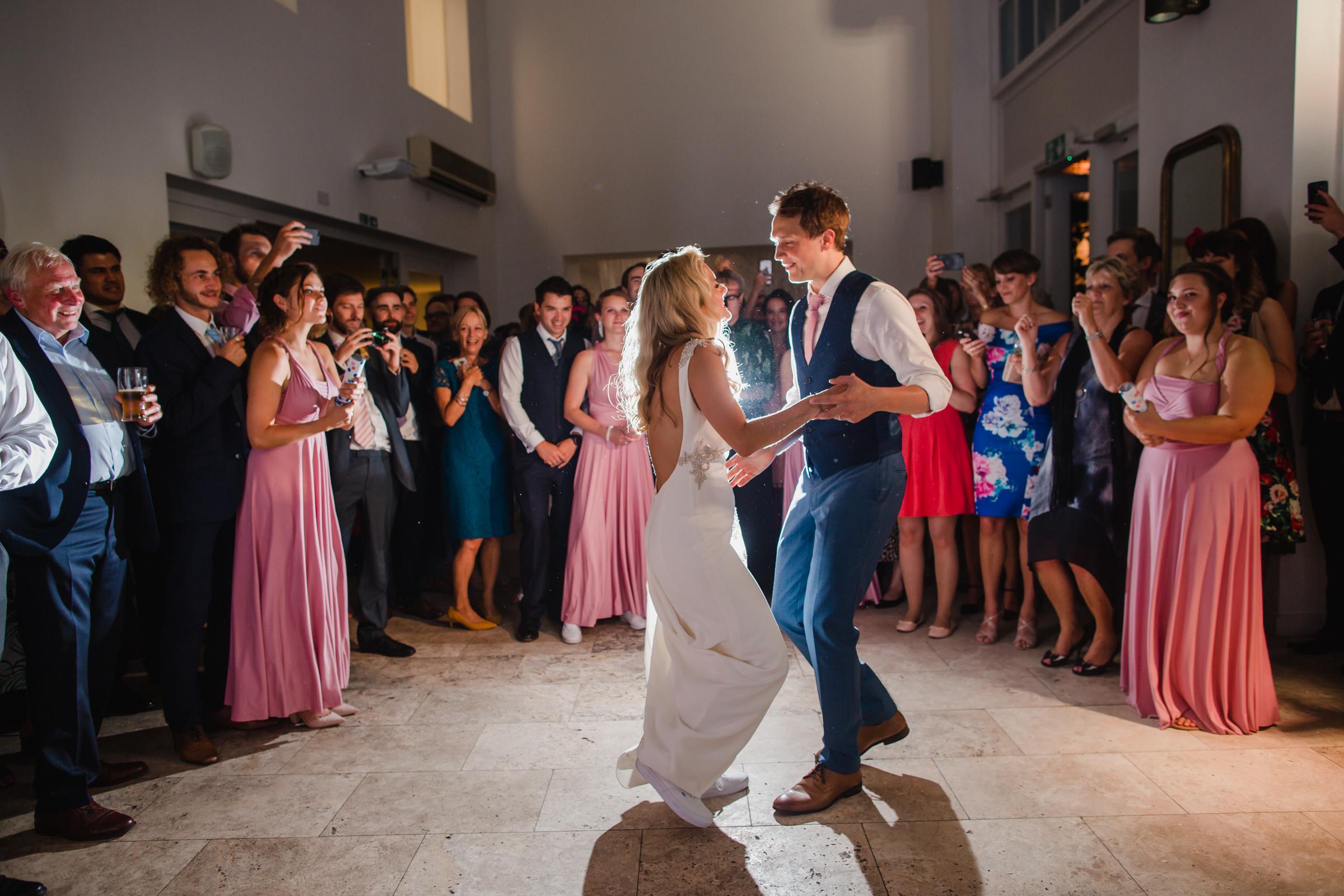 a bride and grooms first dance at a wedding in fazeley studios digbeth birmimgham