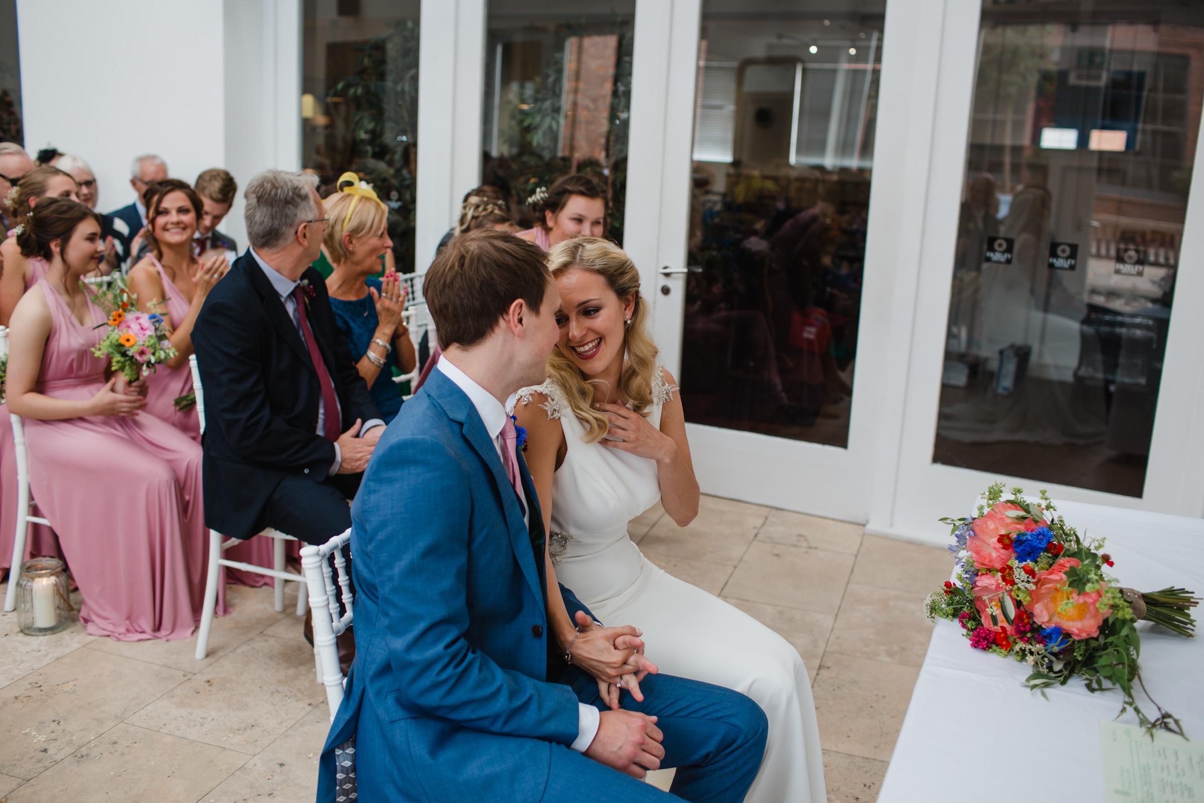 a quiet moment during a wedding at fazeley studios