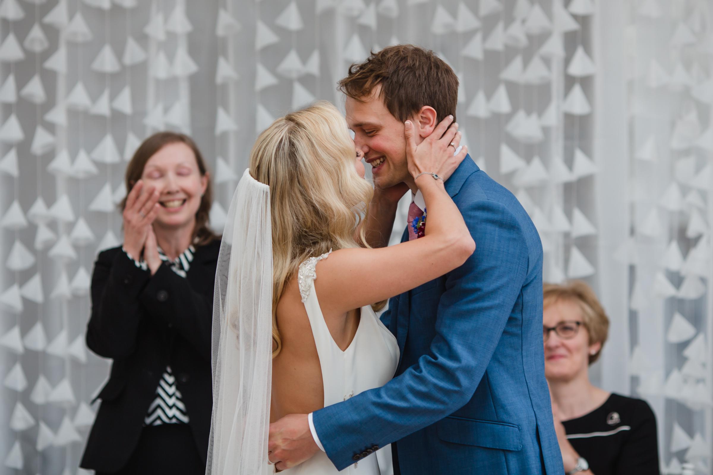 The first kiss at a wedding at fazeley studios birmimgham