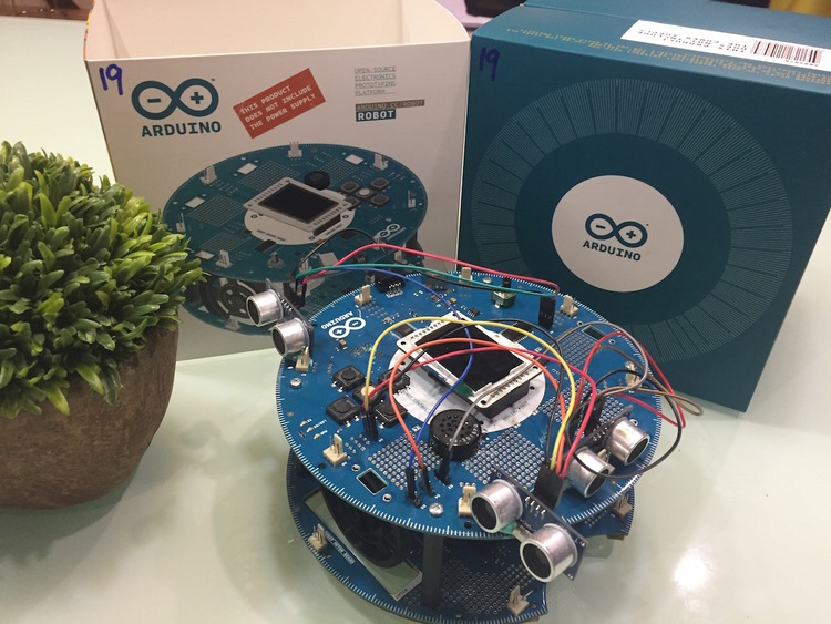 Our Arduino robot with 3 ultrasonic sensors