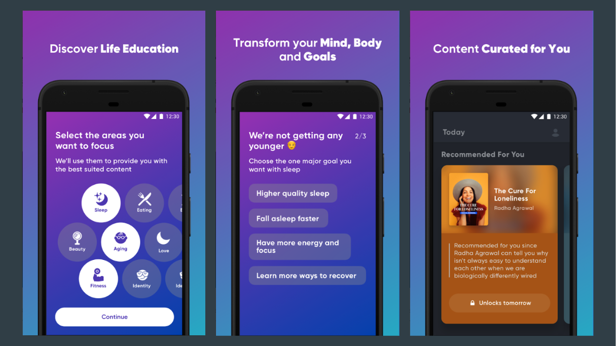 First Time User Onboarding Quiz in Mindvalley App ( App Store  /  Google Play )