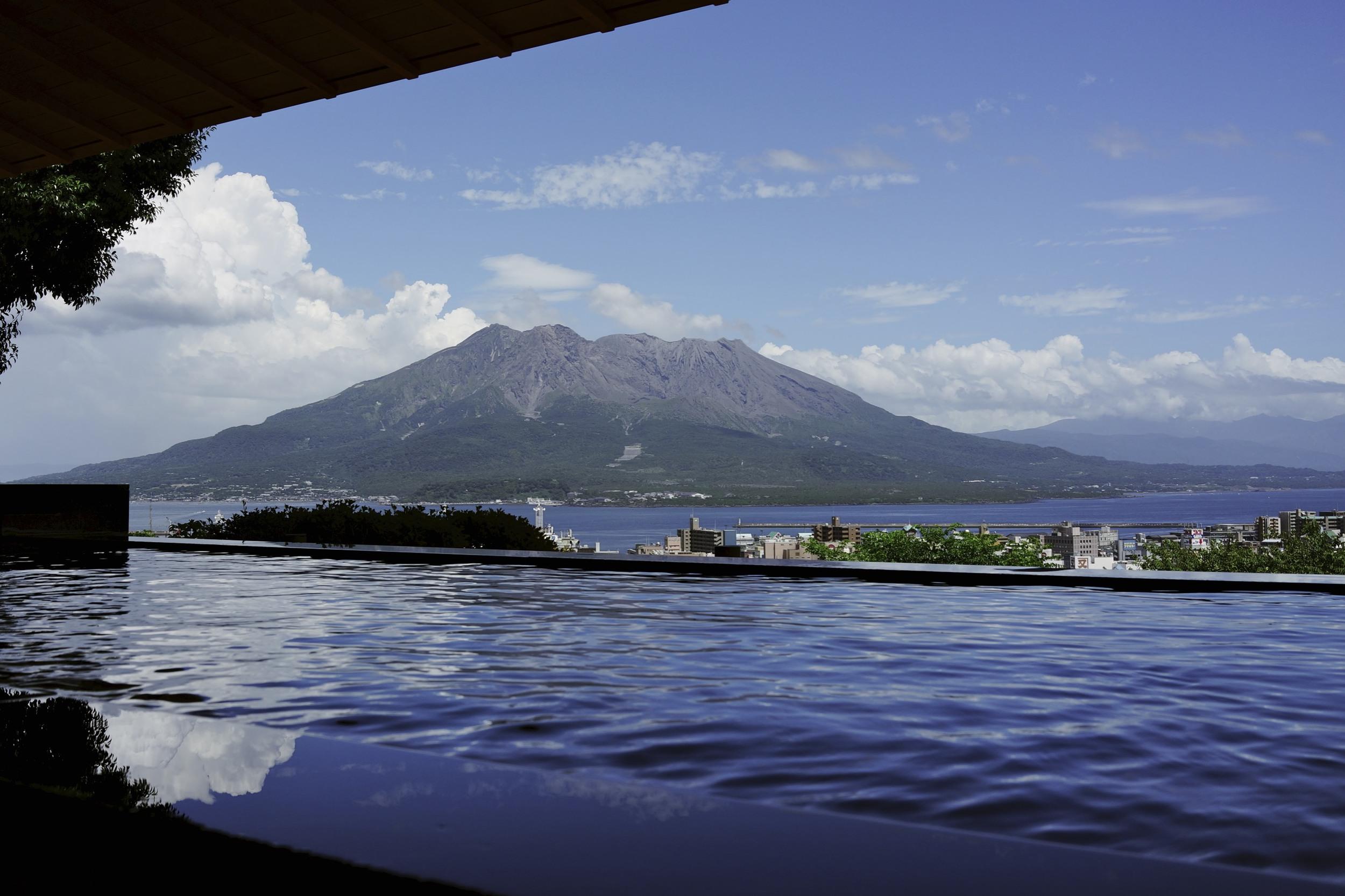 Onsen at the Shiroyama Kanko Hotel, Kagoshima