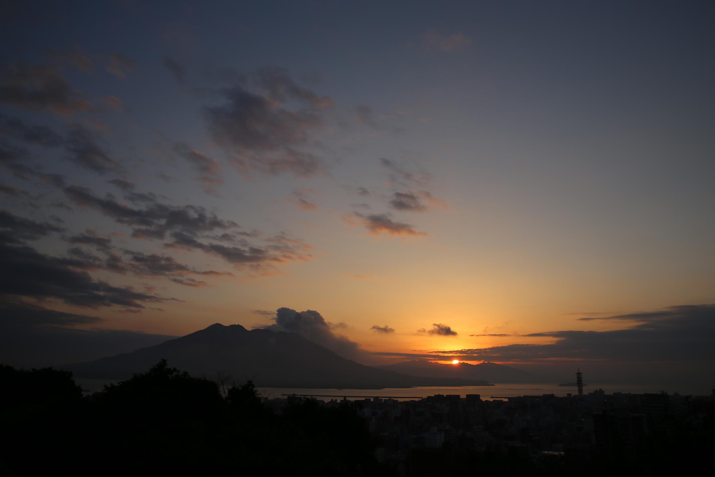Sakurajima sunrise, seen from the Shiroyama Kanko Hotel.
