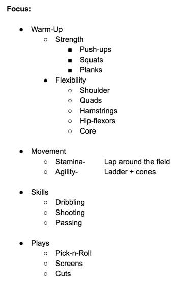 Draft of the program's basics