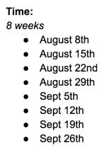 Initial dates for the program