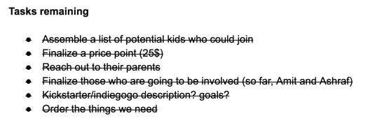 Quick task list in Google Docs