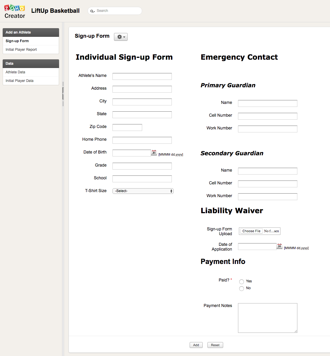 Zoho Creator player database
