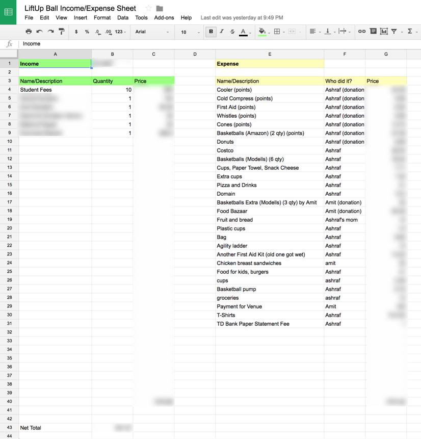 Finance tracking sheet