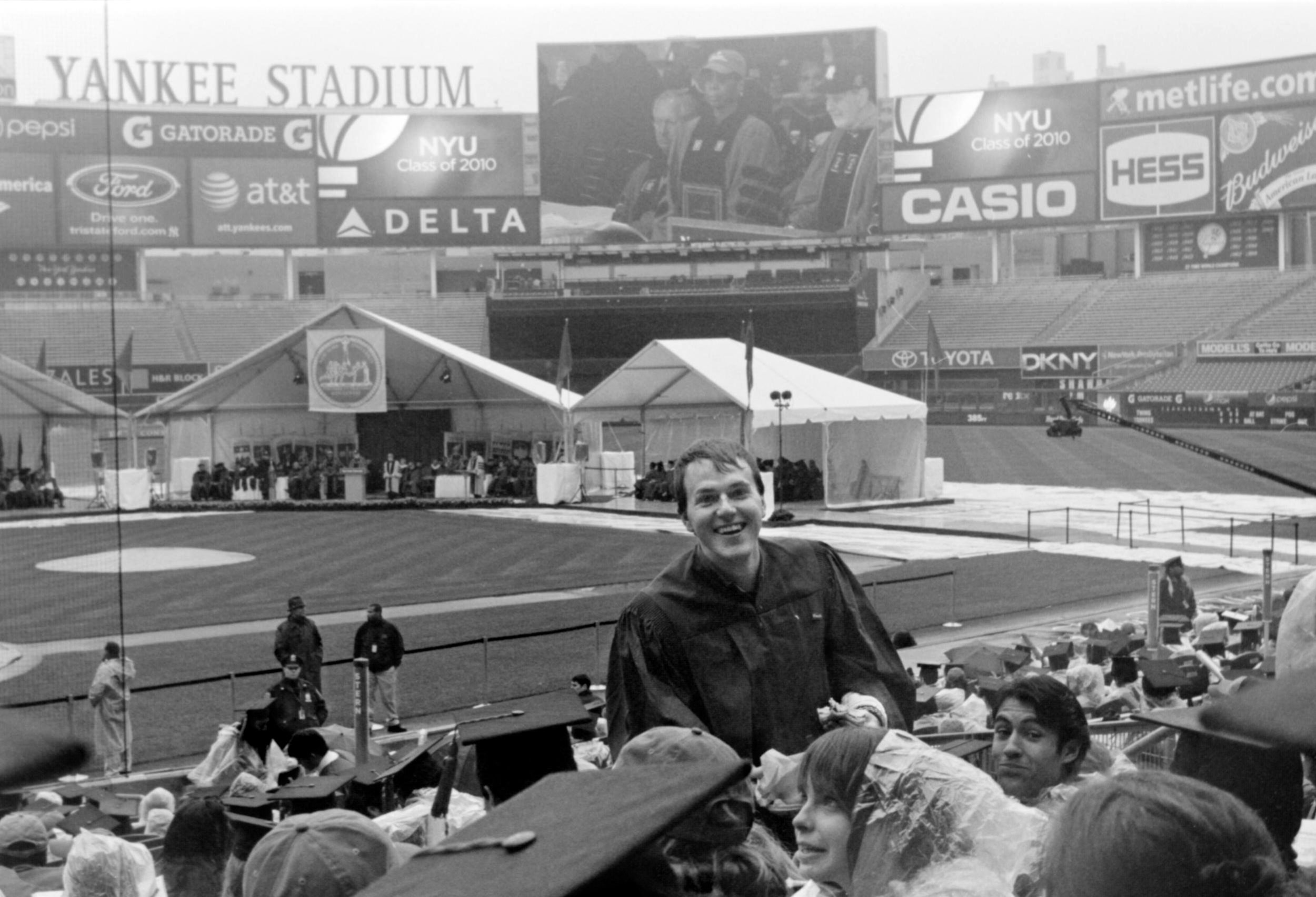 Mark in Yankee Stadium  NYU Graduation 2010  35mm b&w film