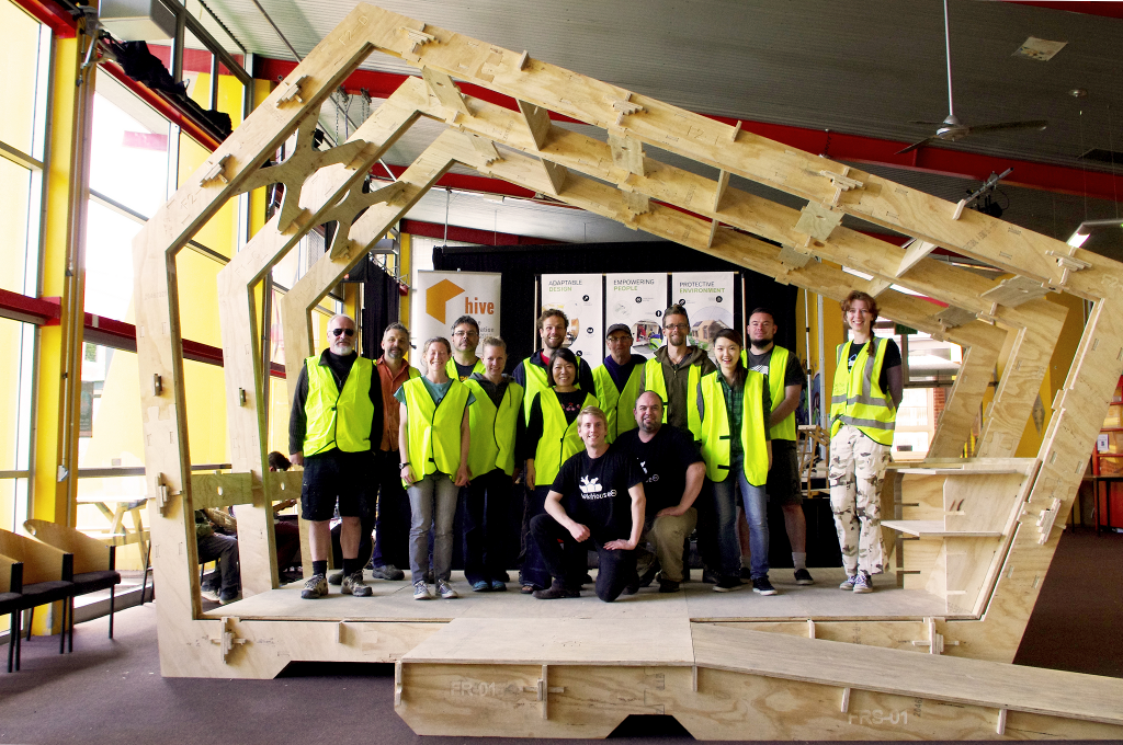 Twelve ordinary people with no formal skills or training assemble the WikiHouse in under 2 hours.