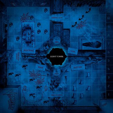 Gameboard under blue 'night' light