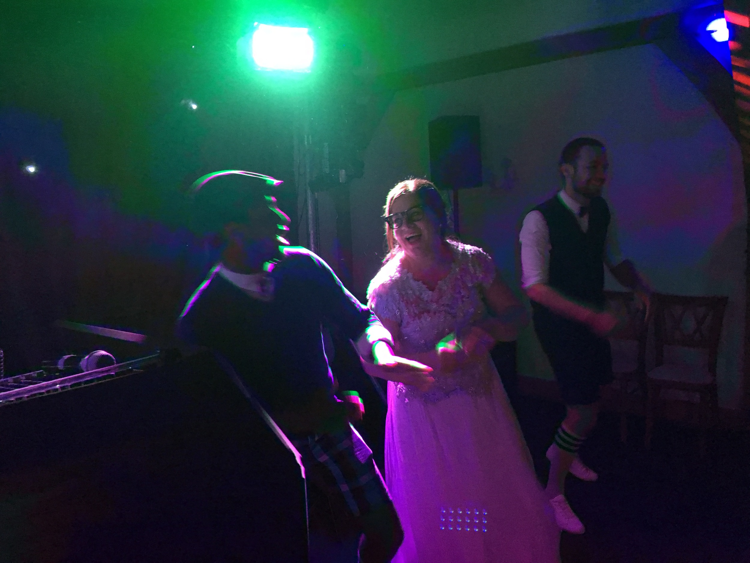 The bride and groom showing their guests how it's done Brewin style!