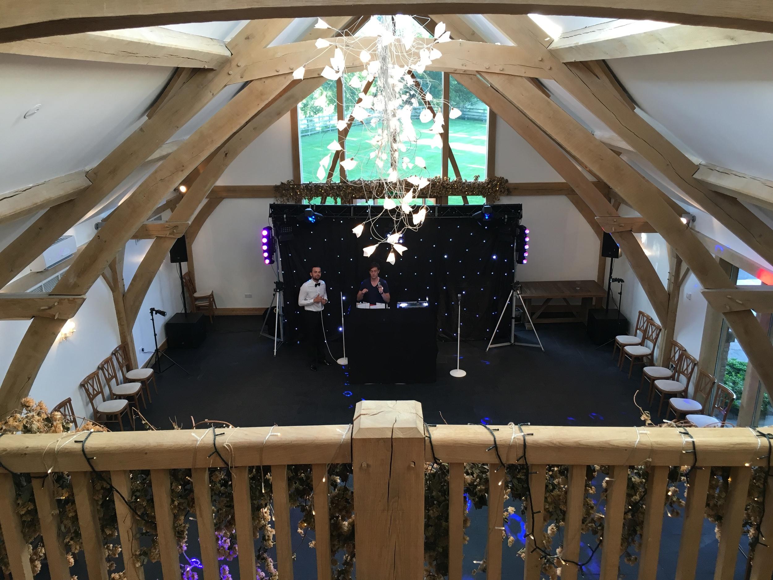 Setting up inside the gorgeous Mythe Barn