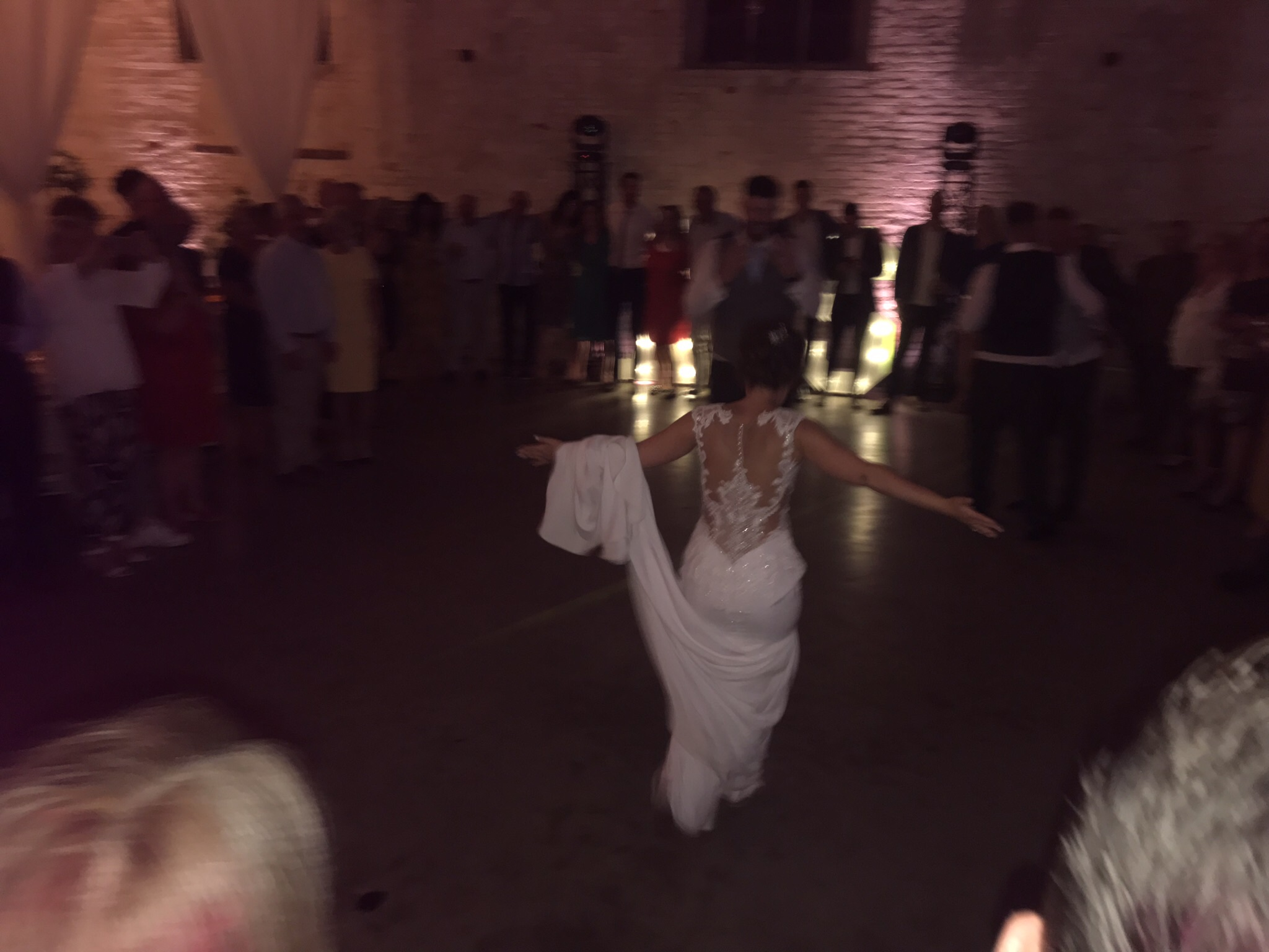 Mrs Stuart strutting her stuff during the first dance