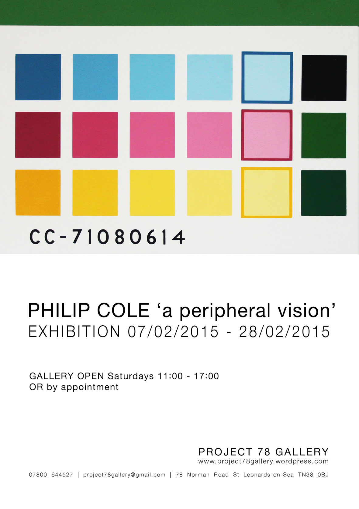 A Peripheral Vision     Project 78 Gallery,  St Leonards, East Sussex.  In this exhibition I exhibited 15 new pictures some of which you can see  (here)  The exhibition took place from 7th Feb to the 7th March 2015