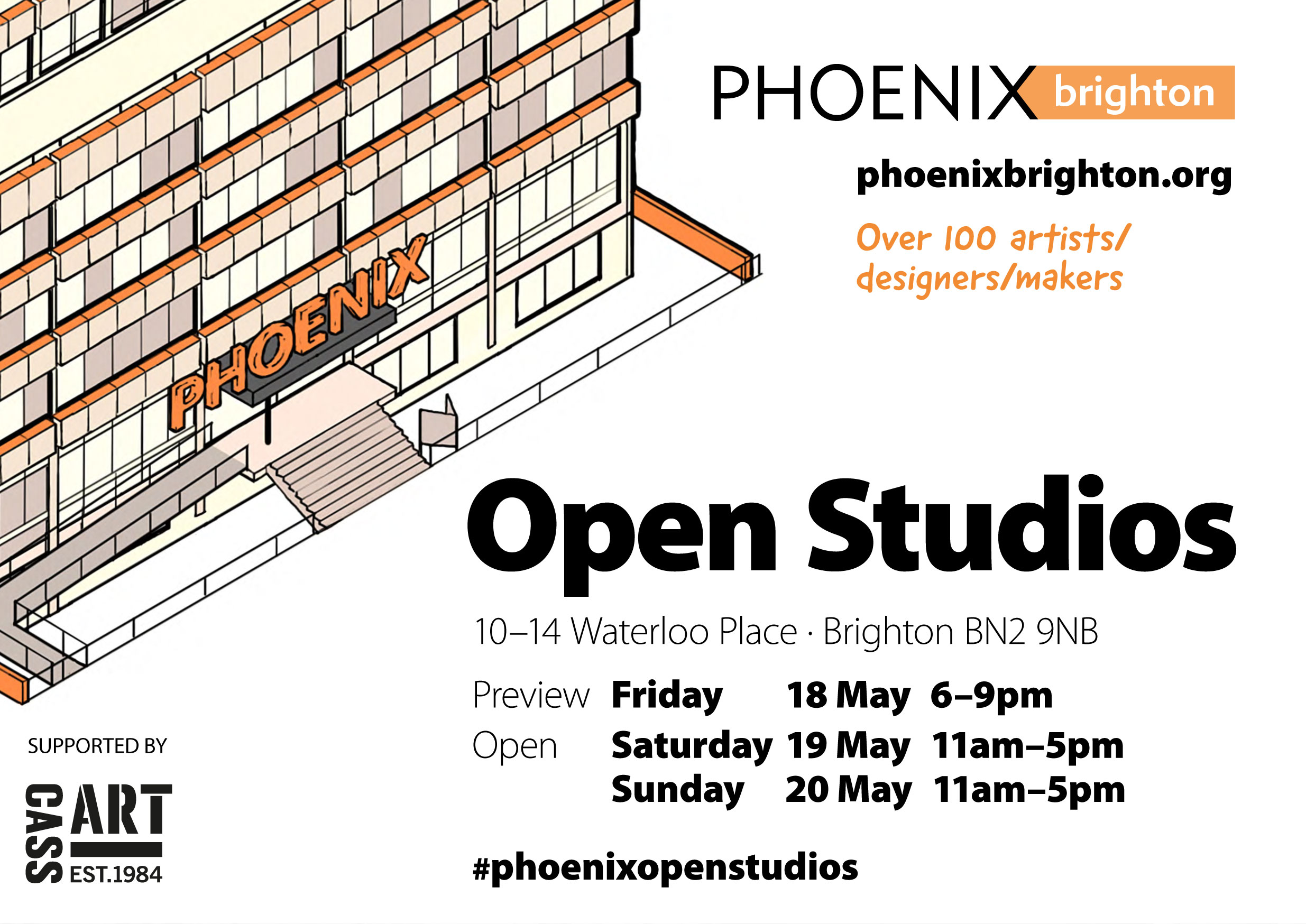 Open Studios at Phoenix Brighton May 2018    Phoenix Open Studios  preview is Friday 18th May 6-9pm at  Phoenix Brighton  10-14 Waterloo Place Brighton BN2 9NB. The current exhibition in the main gallery features  Brett Goodroad . There is also a  display of diverse works by artists working at Phoenix  and last but not least the studios are open for you to take a peak inside - that's over 100 studios.  I'll be opening my studio too so do pop in and see some of my latest work.  If you are unable to make the preview,  Phoenix Open Studios  is open from Saturday 19th May – Sunday 20th May. From 11am - 5pm. I hope that you can make it along