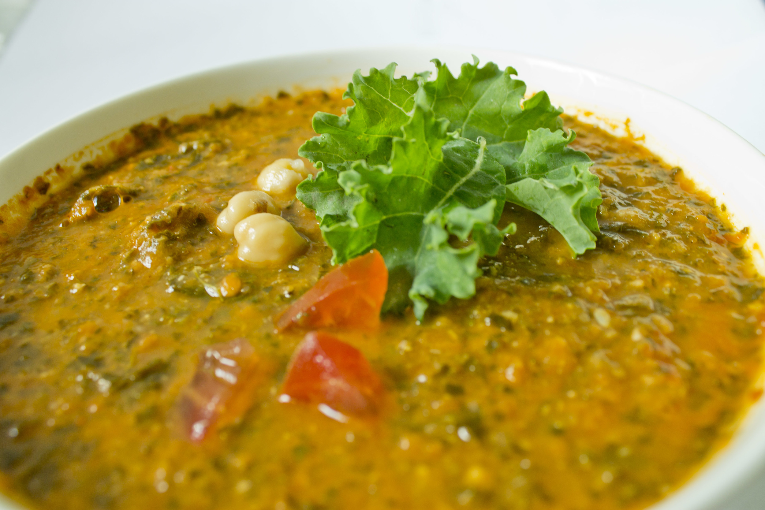 Kale Tomato Soup with Chickpeas and Cumin