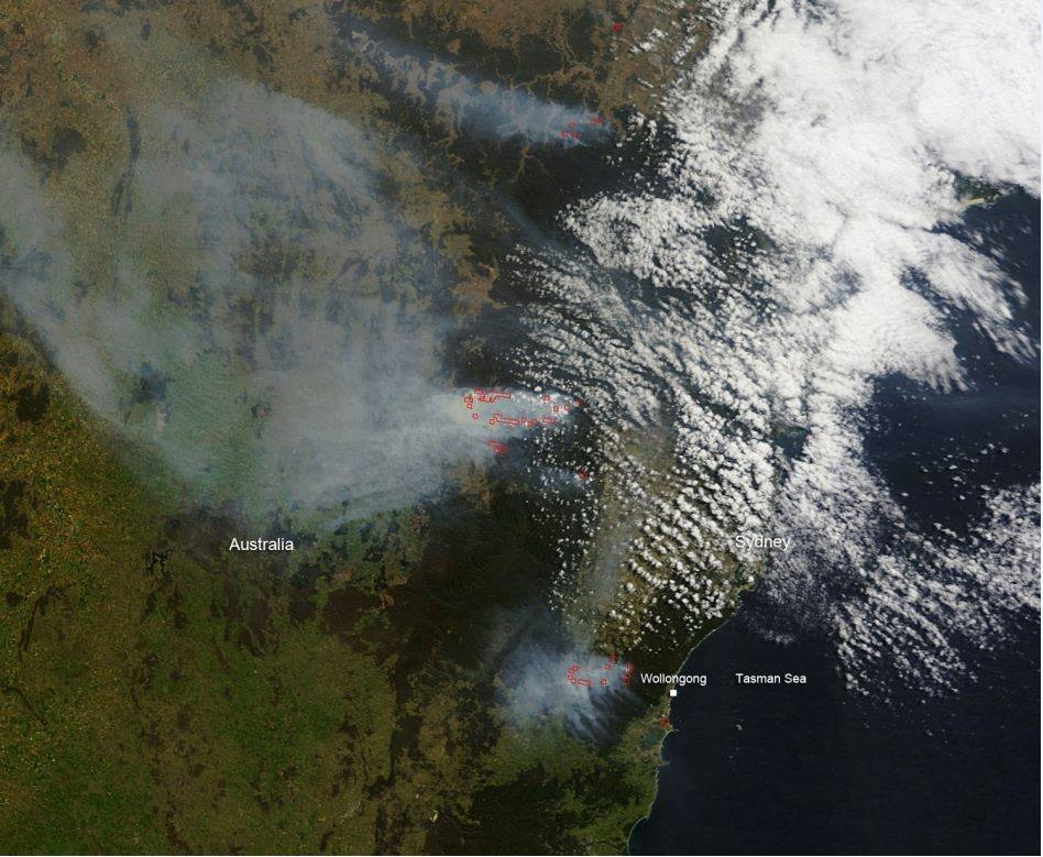 A Sattlelite Image of the FIres burning