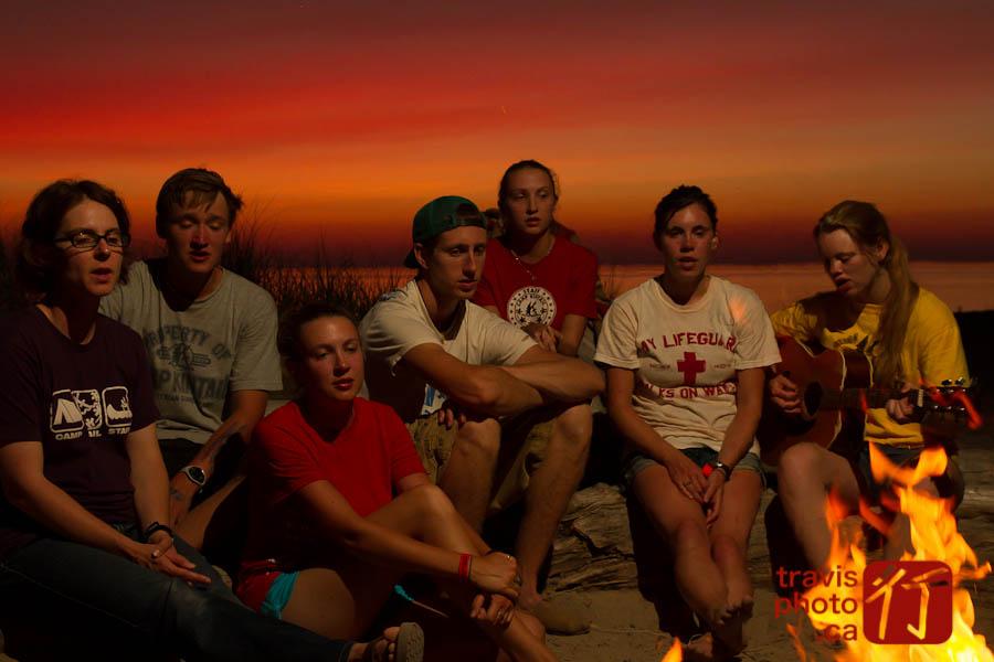 Camp Kintail staff sing at sunset