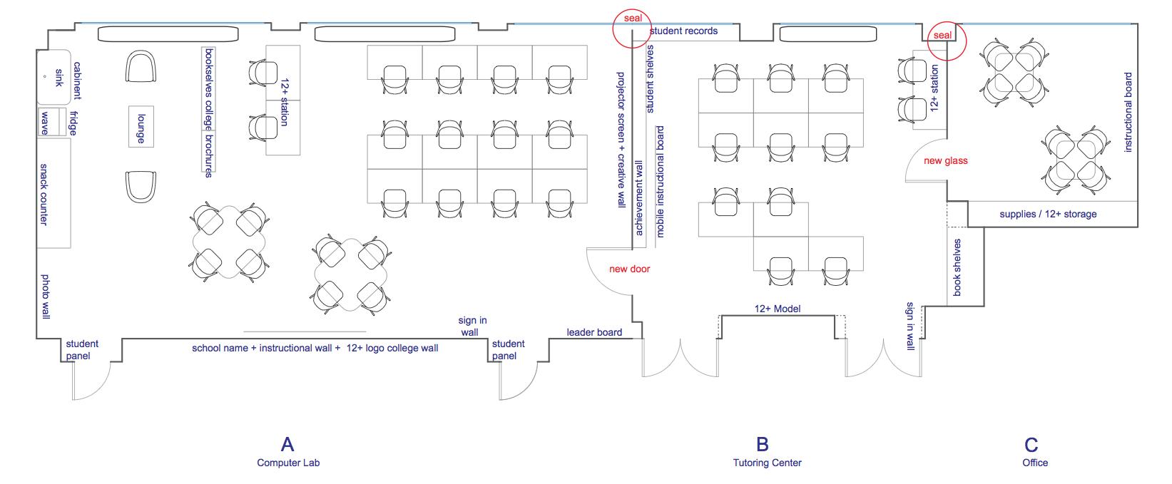 Blueprint of our new plus center at Penn Treaty