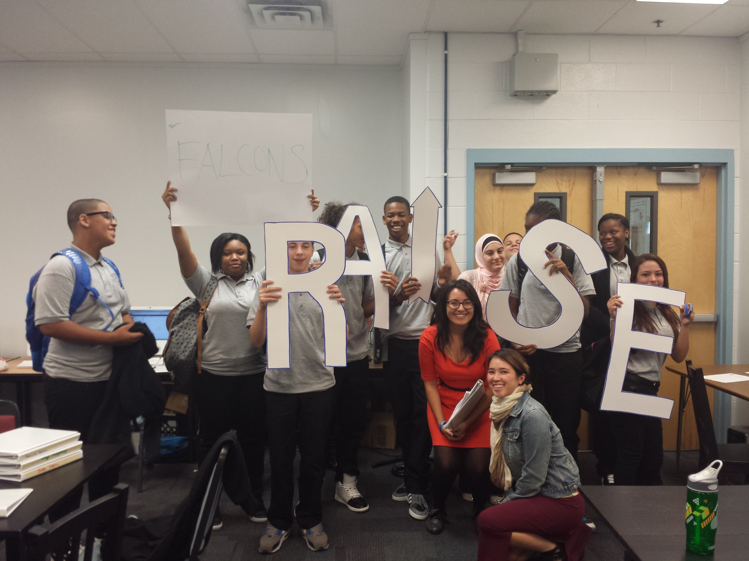 Jazzmin and Aelita pose with KHSA freshmen who are excited about 12+'s new college readiness program, RAISE!