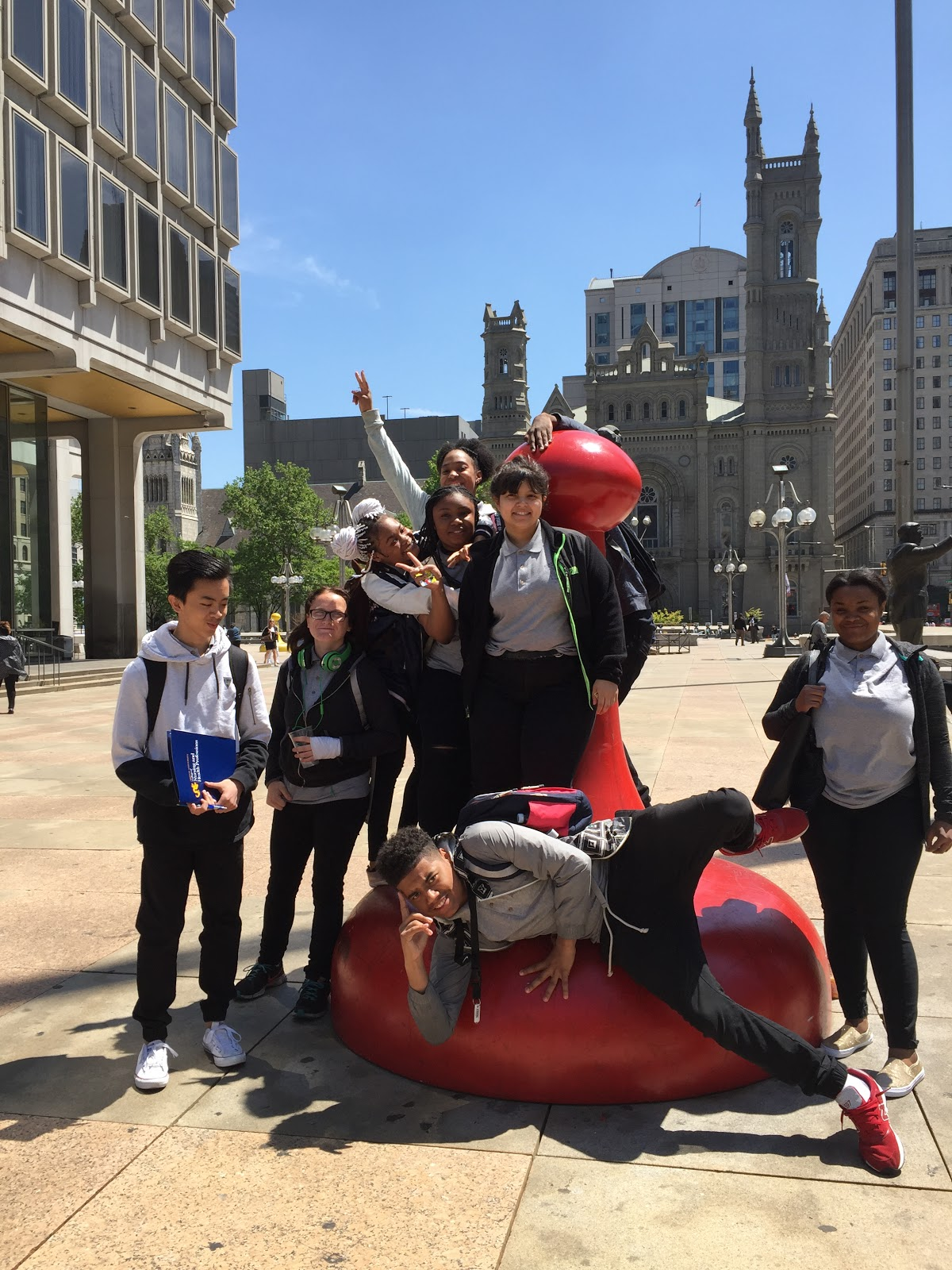Students after a college informational session and visit to Drexel University College of Nursing and Health Professionals.