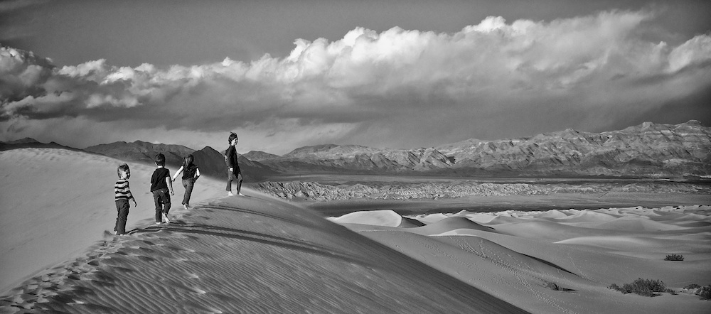 My kids on the Stovepipe Wells sand dunes in Death Valley