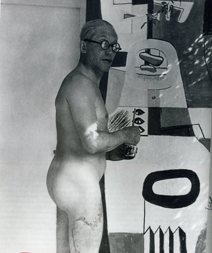 Le Corbusier painting a fresco in the nudeat Eileen Gray's Villa E-1027 (Summer 1939)