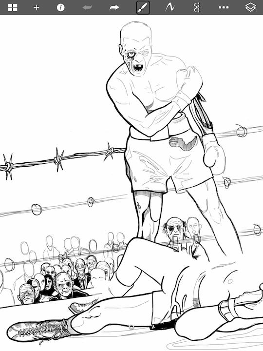 """Zombie Fight""sketched in  Autodesk SketchBook on an iPad © 2015 Cormac Phalen"
