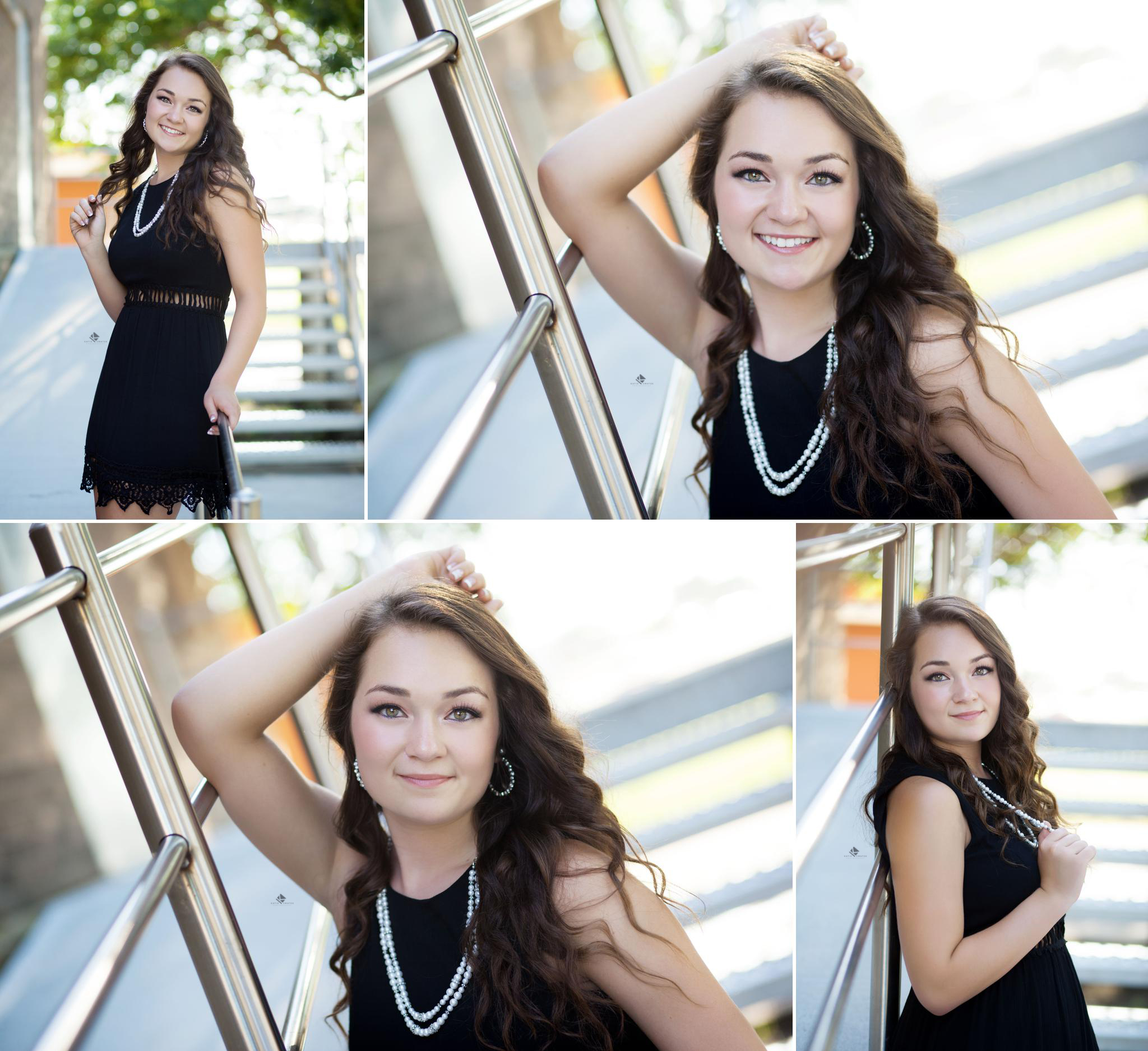 Black Dress Staircase Senior Images by Katie Swatek Photography