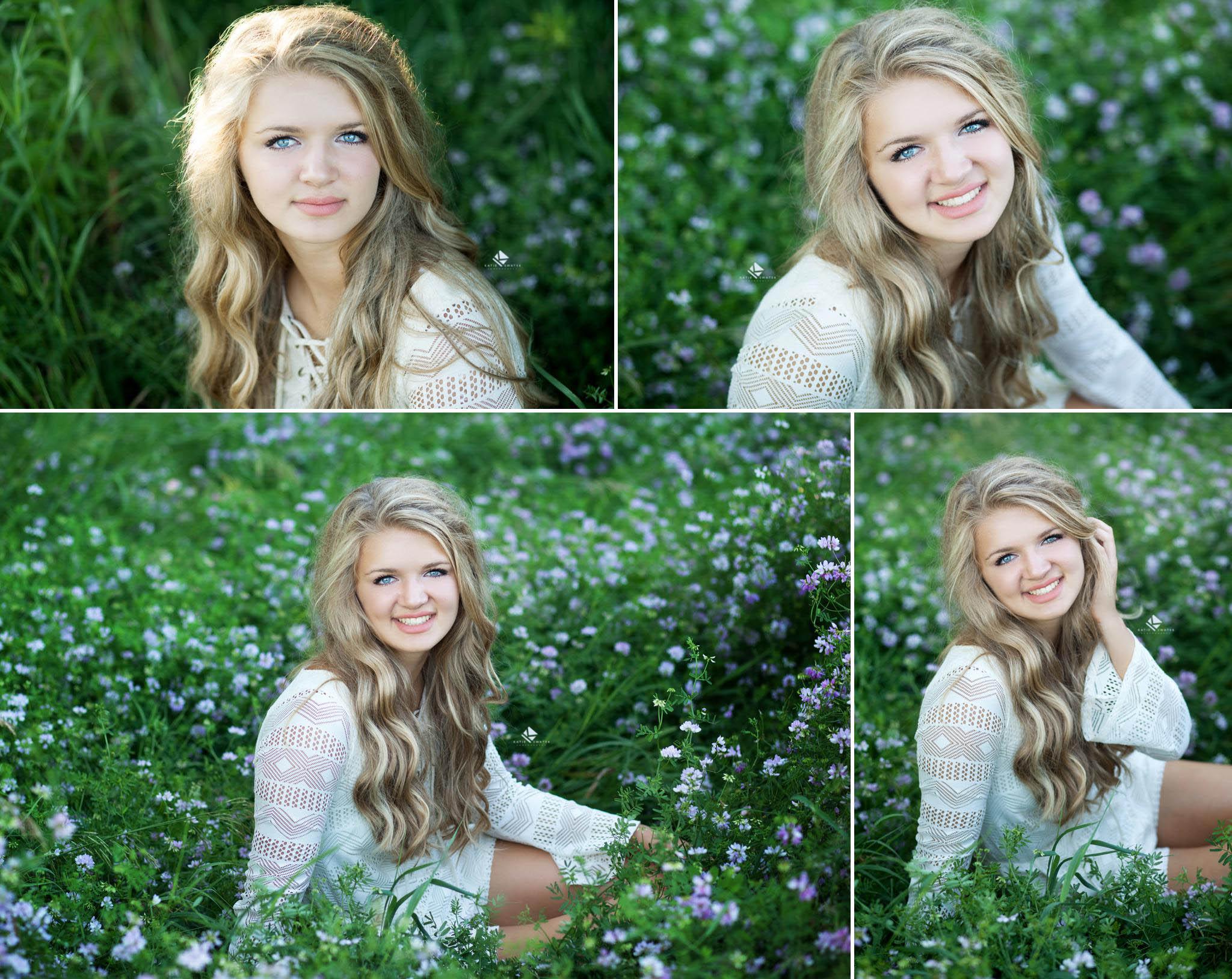 Flower Field Senior by Katie Swatek Photography | White Dress Country Senior by Katie Swatek Photography